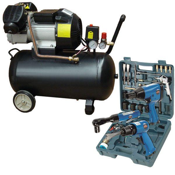Mauk Kompressor 50l + Druckluft Geräte Set 36 tlg.