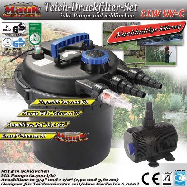 Mauk Teich-Druckfilter-Set 11 W UV-C (B-Ware)