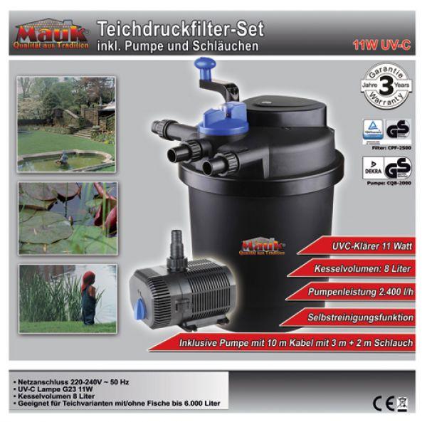 """MAUK Teich- Druckfilter- Set 11W UVC mit """"Spin Clean"""" Funktion"""