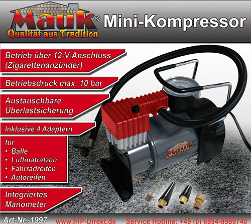 mauk mini kompressor 10 bar elektrische luftpumpe. Black Bedroom Furniture Sets. Home Design Ideas